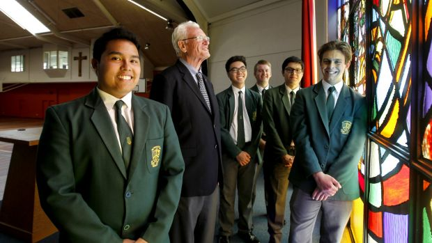 Reaping the rewards: Parramatta Marist Brother Patrick Howlett  with students Jonah Maranan, Gabriel Salonga, Peter ...