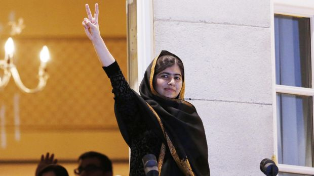 Malala Yousafzai on the balcony of the Grand Hotel in Oslo, where she received her Nobel peace prize.