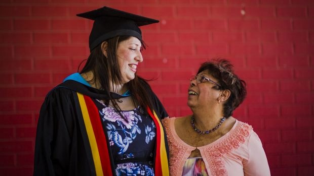 Heart: Dr Jessica King, the first Aboriginal graduate of the ANU Medical School, celebrates with her proud mother Dr ...