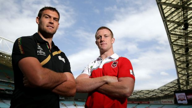 No shield from criticism: South Sydney's Tim Grant (left) and Dragon Ben Creagh at the Charity Shield launch.