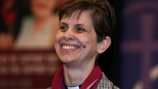 Reverend Libby Lane smiles as her forthcoming appointment as Bishop of Stockport is announced in Stockport Town Hall, ...
