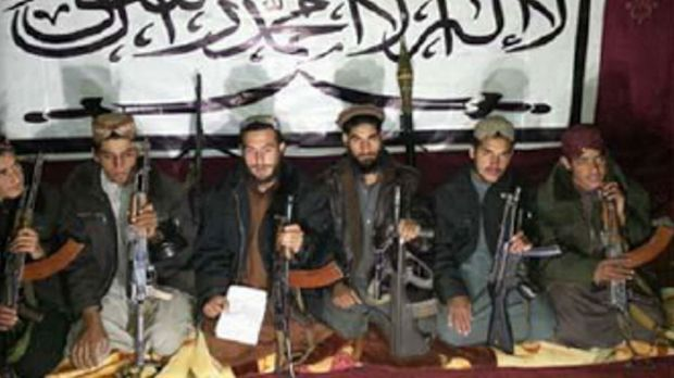 An image sent by Tehrik-i-Taliban Pakistan (TTP) shows Taliban fighters who allegedly stormed an army-run school in Peshawar.