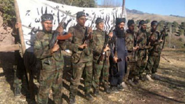 A photo released by the Tehrik-i-Taliban Pakistan (TTP) shows the Taliban Islamists who allegedly stormed an army-run ...