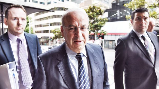 Eddie Obeid at the Downing Centre Local Court where he is facing charges in relation to evidence presented at ICAC today.