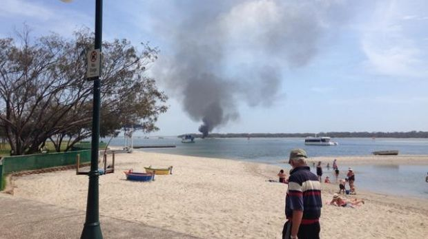 A boat on fire in the Gold Coast Broadwater.