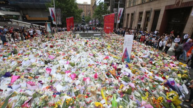 The floral tributes left at Martin Place in honour of the victims.