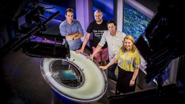 The 7.30 ABC team -  cameraman Greg Nelson, editor Damian Porombka, presenter Chris Kimball, and journalist Adrienne ...