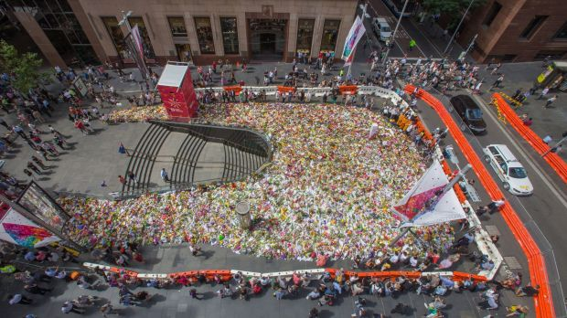 From above: flowers fill Martin Place on Thursday.