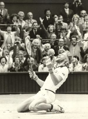 Unrivaled champion: Bjorn Borg celebrates winning his fifth consecutive Wimbledon in 1980.