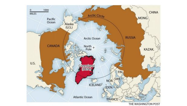 Russia, Canada and now Denmark (via Greenland) have claims on the North Pole.