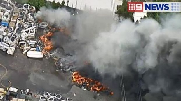 An aerial view of the fire at Thomastown.