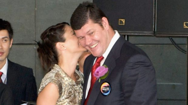 James Packer and his ex-wife Erica (seen here in happy times) have been photographed embracing at the Sydney ...