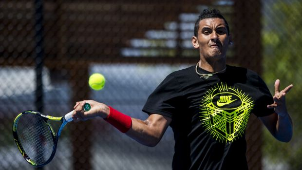 Nick Kyrgios checks out the new courts at the Canberra Tennis Centre.