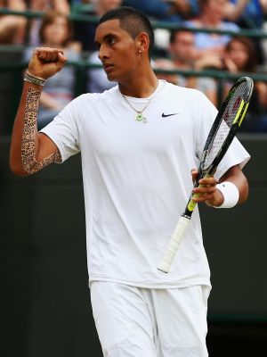 Nick Kyrgios during his famous win over Rafael Nadal at Wimbledon in 2014.