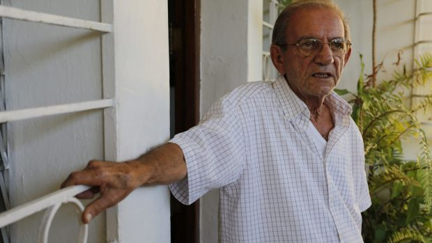 Rolando Sarraff Trujillo's father, also called Rolando Sarraff, outside his home in Havana.