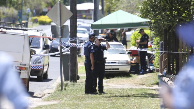 Police at the crime scene in Cairns.