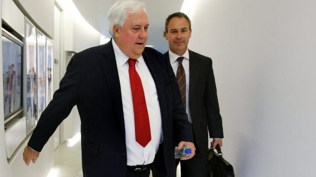 Palmer United Party leader Clive Palmer (left) with his PR man Andrew Crook.