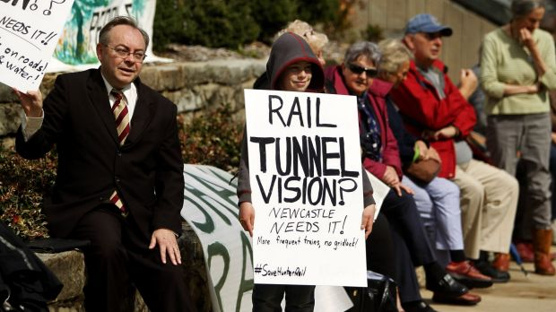 Save-our-rail protesters take to the streets in Newcastle.