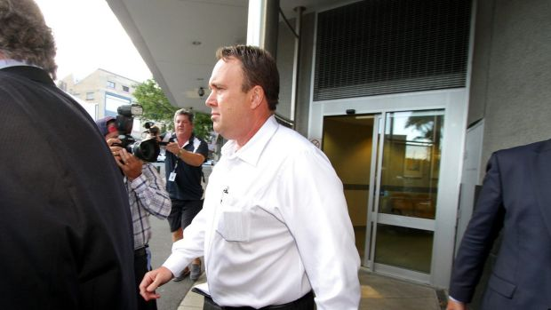 Gold Coast private investigator Mick Featherstone exits the Brisbane Watchhouse last year.