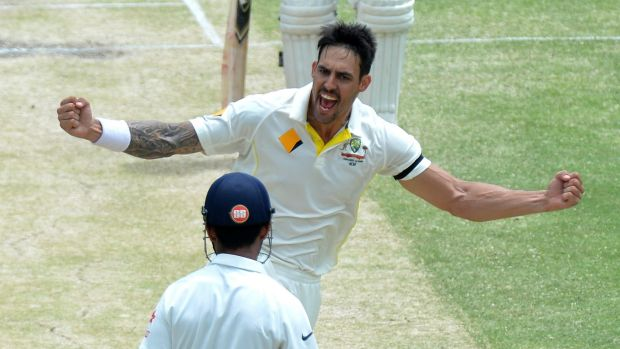 The destroyer: Mitch Johnson after dismissing India's Ajinkya Rahane.
