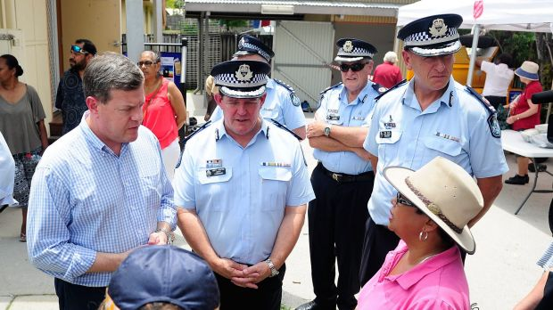 Acting Queensland Premier Tim Nicholls and senior police speak to Cairns community advocate Yodie Batzke.