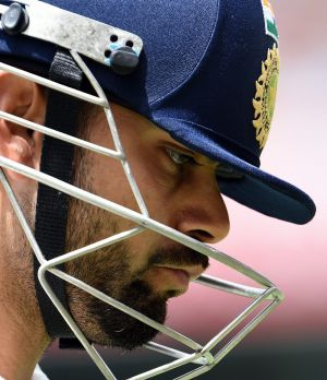 """Virat Kohli was subjected to """"uneven bounce"""" in the warm-up to day four of the second Test."""