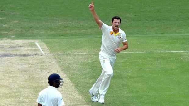 Caught and bowled: Josh Hazlewood celebrates the dismissal of Cheteshwar Pujara for 43 in Brisbane on Saturday.