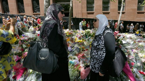 Latife Bahsoun of Roselands with a friend at Martin Place to pay tribute to the victims of the Lindt Cafe siege.