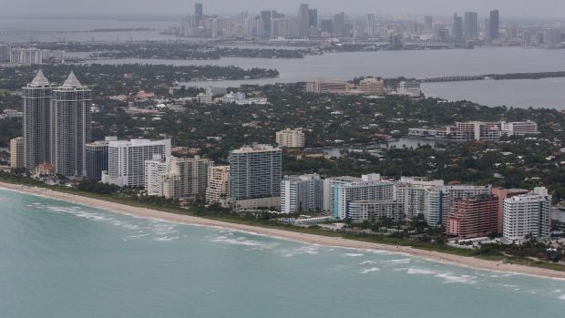 Miami's main beach, which is low-lying and flood prone.
