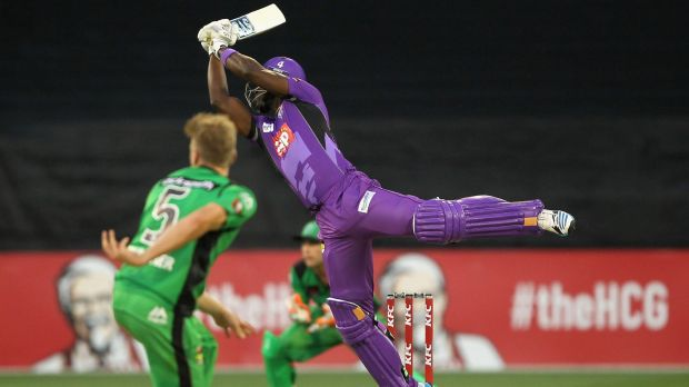 Darren Sammy plays an unorthodox shot on his way to 38 not out off 12 deliveries.