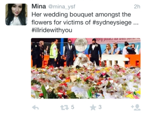 Twitter user @mina_ysf tweeted this photo of a bride at Martin Place.
