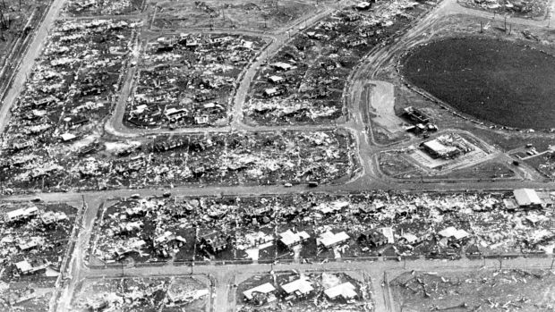 Aerial view of Darwin showing damage from the 1974 cyclone.