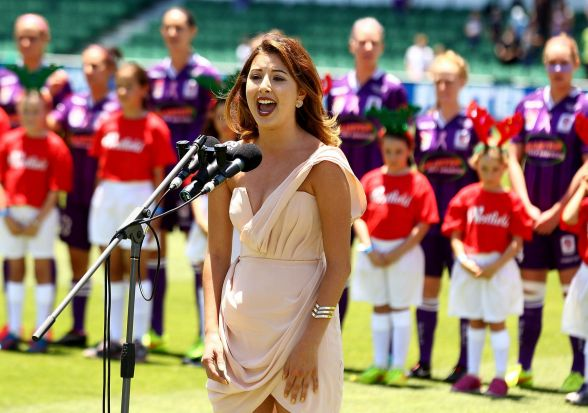 The Australlian national anthem is performed prior to the start of the W-League Grand Final.