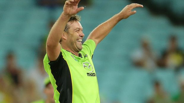 Jacques Kallis of the Thunder celebrates taking the wicket of Dan Christian of the Heat