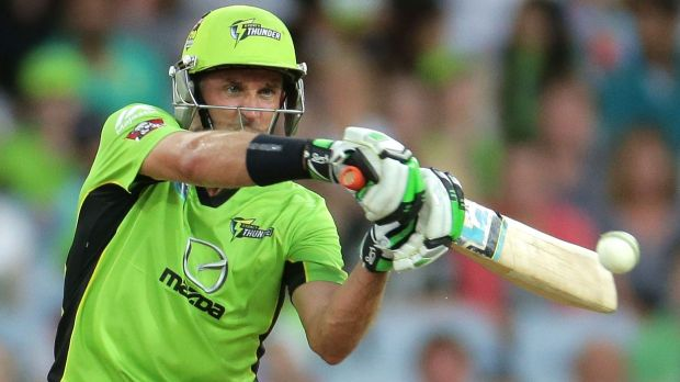 Great night: Mike Hussey of the Thunder bats at ANZ Stadium against the Heat.