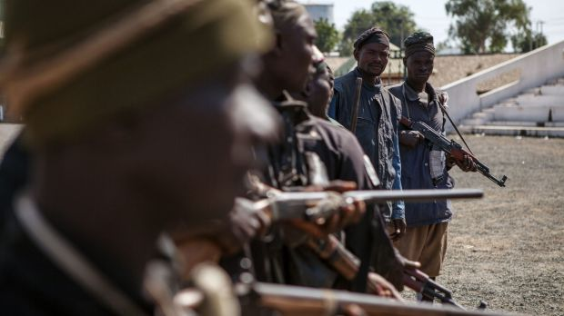 A band of hunters who took part in an operation against Boko Haram earlier this month.