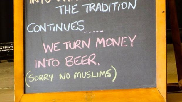 """A Longreach restaurant placed a sign reading """"Sorry No Muslims"""" outside its front doors."""