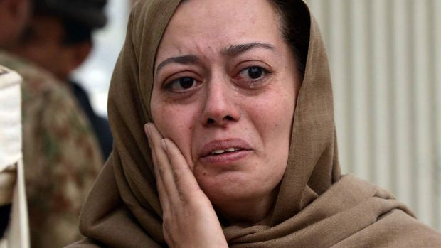 A grieving mother at the army-run school in Peshawar where her son Ali was killed last week.