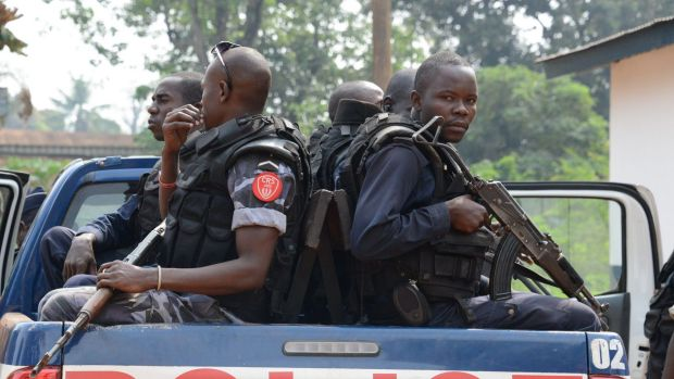 Facing inter-ethnic clashes ... Police officers arrive to patrol in the streets of Bangu, Central African Republic in 2012.