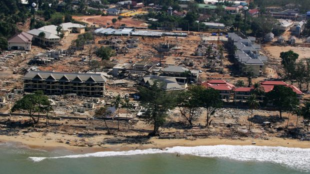 Devastation: An aerial view of the Thai resort town of Khao Lak a few days after the Boxing Day tsunami struck in ...