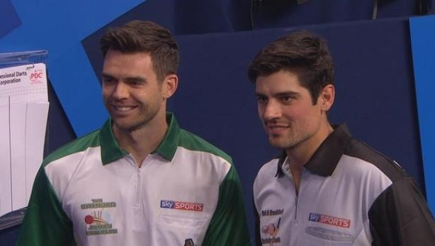 Jimmy Anderson and Alastair Cook are all smiles at the darts.