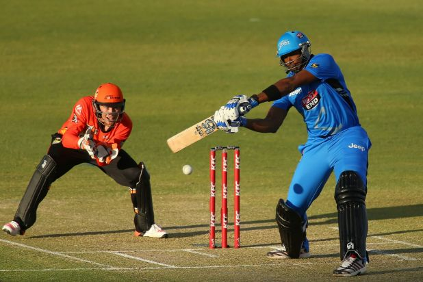 Hitting out: Kieron Pollard of the Strikers bats during the Big Bash League match between the Perth Scorchers and ...