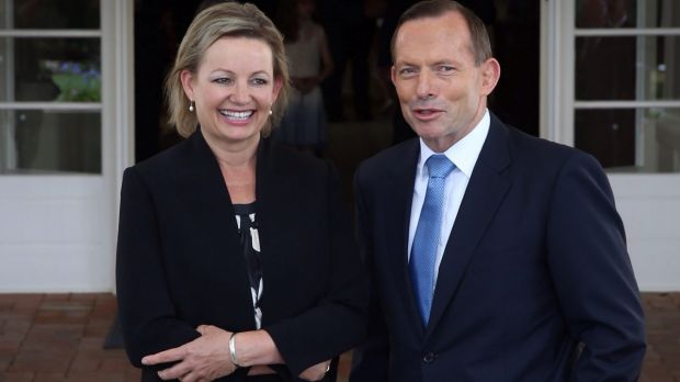 Photo opportunity: Newly sworn in Cabinet minister Sussan Ley and Tony Abbott.