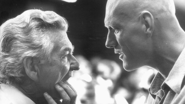 Creative input: Prime minister Bob Hawke getting some advice from Midnight Oil lead singer Peter Garrett on the opening ...
