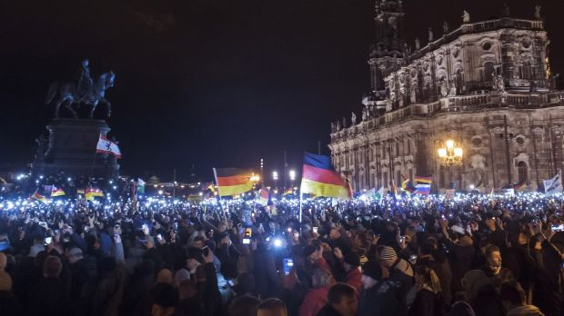 """Mass protest: Thousands of activists gather  in the east German city of Dresden on December 22 for a rally of """"Patriotic ..."""