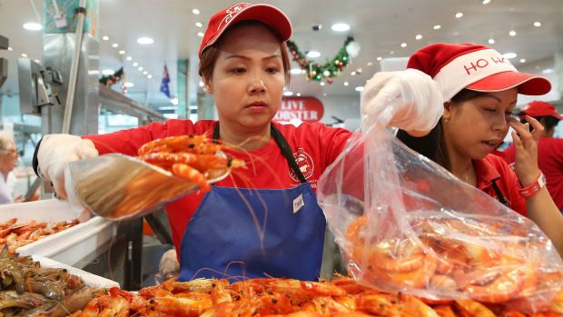 Prawns are always in high demand before Christmas at the fish markets.