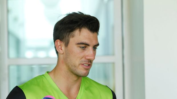 Still raw: Patrick Cummins says the tragic death of Phillip HUghes is still playing on the mind of he and other players.