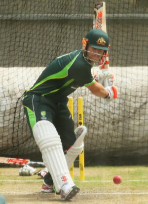 Ready to go: Dave Warner tests his thumb in the nets.