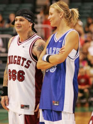 Before they were a couple, Cameron Diaz and Benji Madden played against each other for a celebrity basketball match in 2004.