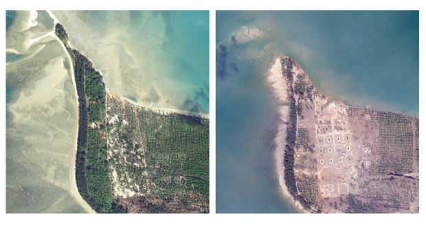 Satellite images show the change in the coast line in the area around the Khao Lak tourist destination in southern Thailand.